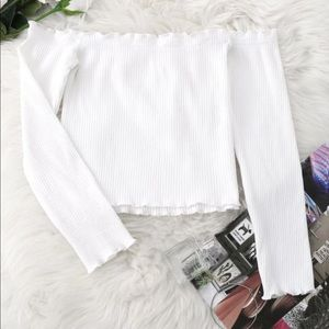 Off The Shoulder White Long Sleeve Crop Top